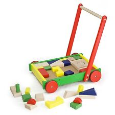 Wooden Baby Walker with 36 Building blocks Multi Colored 41X32.3X46.5Cm