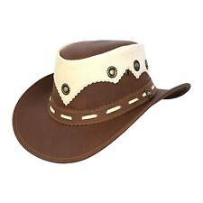 Men's Cowboy Leather Bush Hat Western Style Brown