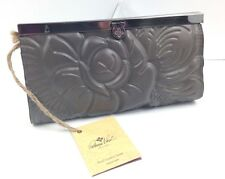 PATRICIA NASH~Tooled Rose~Gray Grey Cauchy Clutch Leather Wallet~$99.00~NWT!