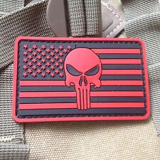 New listing Red Punisher Skull Usa Flag Op Rubber 3D Morale Tactical Pvc Patch