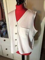 BHS Ladies Ecru Cream Cotton Blend  Sleeveless Cardigan Waistcoat Size 14/16