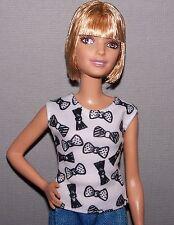 Barbie Doll Clothes Fashionista Evolution Petite White & Black Print Top Shirt