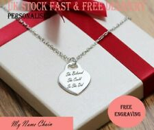 Personalised Heart Love Pendant Engraved Name Necklace White Gold Plated Gift UK