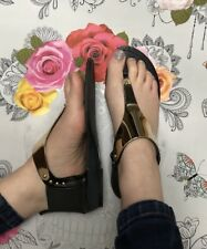 Black T Bar Sandals Size 3 Gold Toe Post Metallic Elasticated Stud Slip On Flats