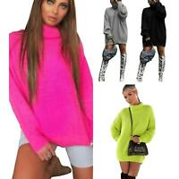 Ladies Chunky Knitted Fluorescent Baggy Oversized Jumper Dress Sweater Pullover