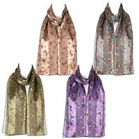 Chiffon Satin Ladies Womens Butterfly Print Scarf Shawl