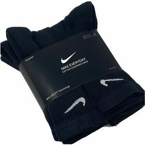 Nike Dri-Fit Everyday Cushion Crew Socks Pack of 6 pairs Black M & L