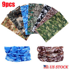 9x Head Wear Face Motorcycle Sport UV Seamless Neck Tube Bandana Mask Camouflage
