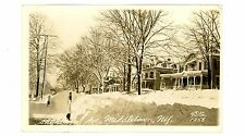 Middletown NY -HOUSES ALONG HIGHLAND AVENUE IN WINTER- RPPC STILL Postcard