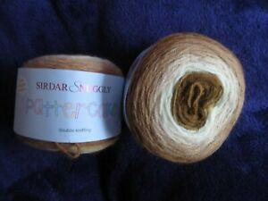 2 X Sirdar Snuggly Pattercake Knitting Yarn 150g balls shades of brown/beige