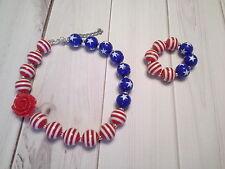 bubblegum chunky bead necklace girl children stars set stripe 4th of july SELLER
