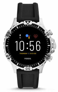 Fossil Garrett HR Gen 5 46mm Silver Case with Black Silicone Strap Smart...
