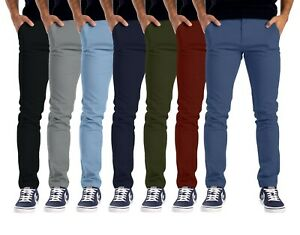 Mens Chino Trousers Slim Fit Stretch Full Pants Casual Jeans Size 30-40