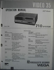 SONY Video 35, 710 System, Betamax, Operation Manual, March 1982 (Circuit Descri