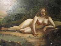 ANTIQUE 19TH AMERICAN FOLK ART RUBENESQUE NUDE BOSOM BLONDE BEAUTY  PAINTING