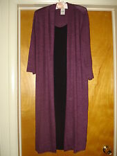 NIP New Blair Women's Sweater Coat Dress Black & Eggplant Purple GORGEOUS!