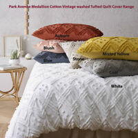 Park Avenue Medallion Cotton Vintage washed Tufted Quilt Cover Set 7-Colours
