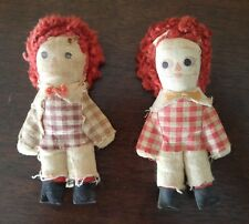 Vintage Handmade Raggedy Ann and Andy Rag Dolls 4 1/2 Inches Tall