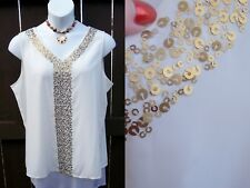 Chico's NEW silky gold sequin tank top cami 3 L XL 16 18 XMAS HOLIDAY blouse