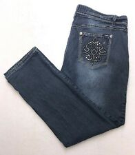 Y142 Angels Jeans Mid Rise Tapered Straight Super Stretch sz 22W (Mea 38x29)