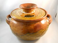 VINTAGE DRYDEN ORIGINAL POTTERY POT WITH HANDLES AND LID - 1979