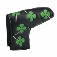 Embroidery Lucky Shamrock Golf Putter Cover Blade Putter Club Head Cover Black