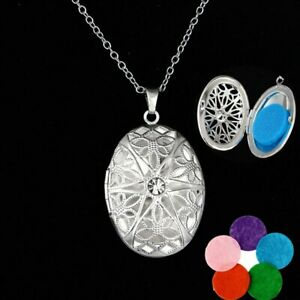 Aroma Diffuser Necklace Open Locket Pendant Perfume Essential Necklace With Pads