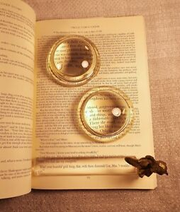 VINTAGE MAGNIFYING GLASSES AND PAPERWEIGHT - UNIQUE DESKTOP COLLECTIBLES