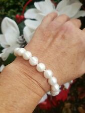 Big 10-11mm White Akoya Pearl Tennis Bracelet, Rhodium Heart Clasp, 8 ""