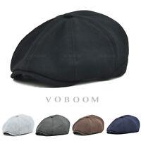 100% Cotton Newsboy Cap Men's Gatsby Cap Golf Driving Ivy Hat Flat Cabbie V1