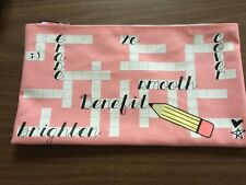 "Benefit Cosmetics Pink Canvas Pencil Case Make-Up Bag Make Up Travel 10"" x 5.5"""