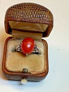 antique Chinese Export Art Deco Silver ring set with 4 CT deep RED Natural Coral