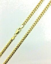 "14k Solid Gold chain Miami Cuban link Necklace 3mm Men's Women's  22"" - 28"""