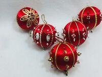 5 Vintage Beaded Spun Satin Christmas Ornament Red Xmas Holiday 25194