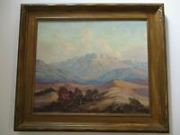 JOSEPH FREY FINEST GORGEOUS ANTIQUE CALIFORNIA DESERT PAINTING AND CARVED FRAME