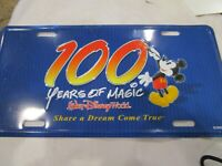WDW Disney's 100 Years of Magic Retired Car Auto License Plate Tag Metal New