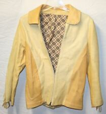 Vintage Women's Soft Leather Jacket with Fringe. Two Tone Custom Tailored