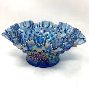 "Vintage FENTON BLUE CARNIVAL GLASS HOBNAIL RUFFLE EDGE BOWL 8"" W/Sticker"