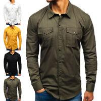 Men Military Surplus Style Lapel Neck Army Cotton Raw Long Sleeve ButtonUp Shirt
