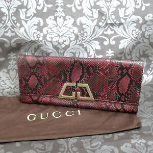 GUCCI Python Leather Purple Clutch Bag #84 Rise-on