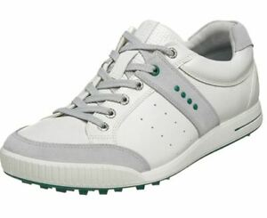 ECCO Street Retro Spikeless Golf Shoes Size 46 White/Green US 12.5 NEW #81815