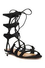 Schutz Erlina Black Suede Lace-up Sandal Size 6.5