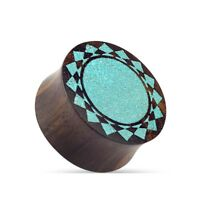 Ear Piercing Piercing Organic Wood Plug with Tribal Sun