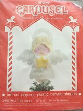1992 CAROUSEL PLASTIC CANVAS CHRISTMAS TREE TOPPER ANGEL #601 NIP