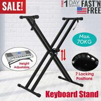 2021 PRO Adjustable Dual X Music Keyboard Electric Piano Rack Stand Metal KS-DBL