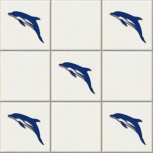 24 x Dolphin, Vinyl Tile Transfers, Sticker, Decal for Bathroom decor 10cm x 5cm