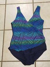 Indigo Bay 1 piece colorful swimsuit sz 12 SLIMMING FLAWLESS