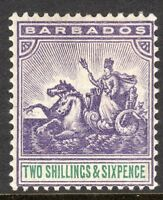 Barbados1892 violet/green 2/6d perf 14 crown CA watermark mint SG115