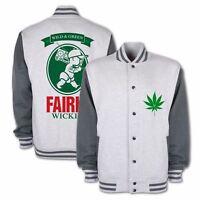 Mens Novelty Stoner Jacket Marijuana 420 Fairly Wickid Varsity Hip Hop Jackets