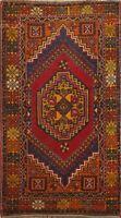 Antique Geometric Anatolian Turkish Area Rug Wool Handmade Oriental Carpet 4x6